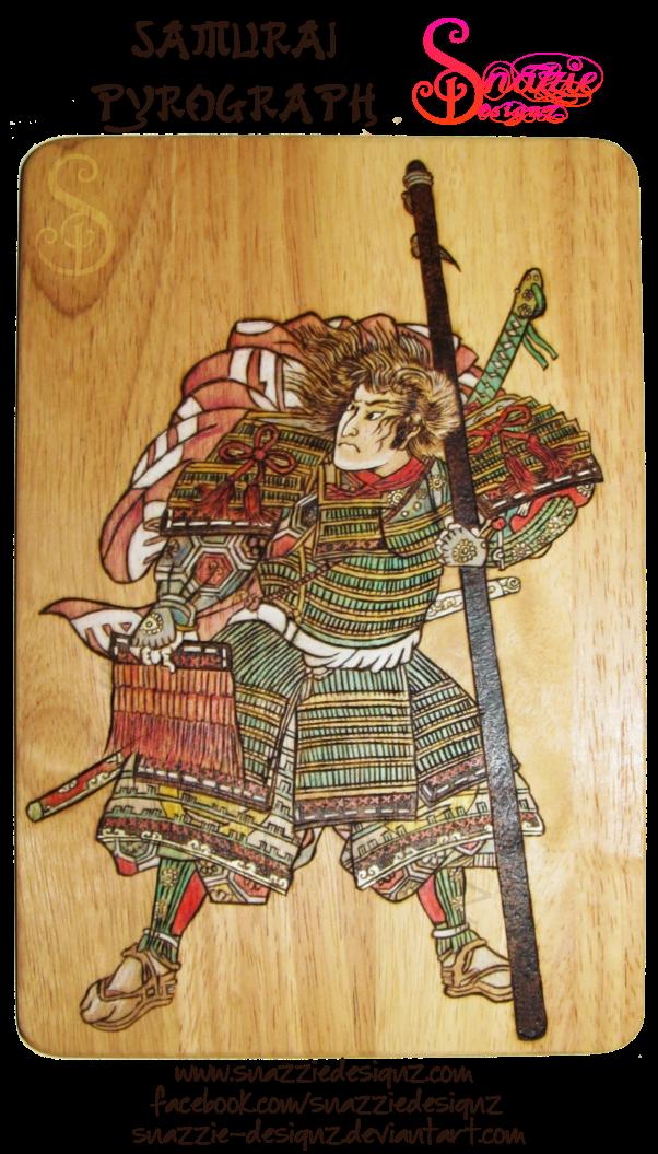 Samurai Pyrograph (Woodburning) by snazzie-designz
