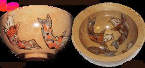 Koi Fishbowl Pyrograph (Woodburning)