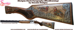 Shotgun Stock Pyrograph (Woodbruning) - Ducks