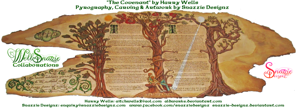 The Covenant Pyrograph and Carving by snazzie-designz
