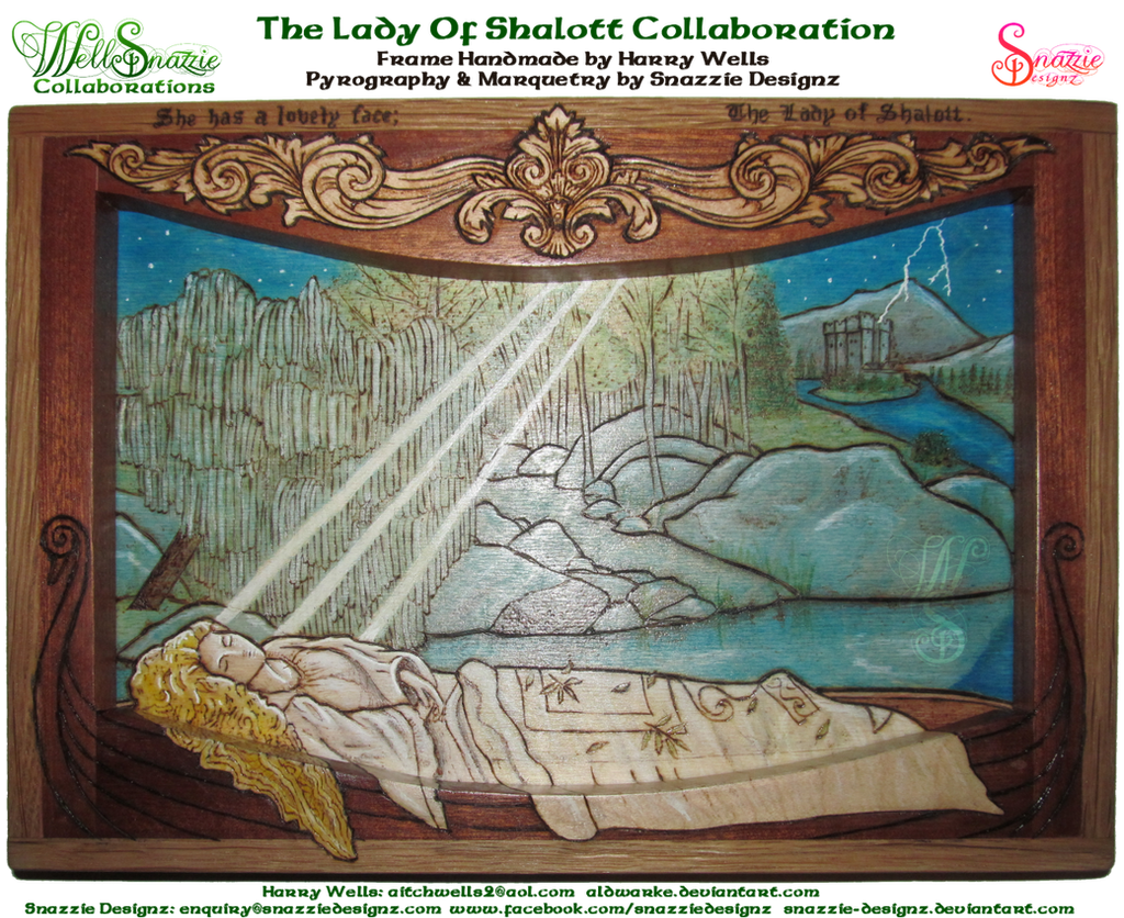 The Lady of Shalott Woodburning Collaboration by snazzie-designz