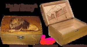 Lion/Lioness Pyrograph (Wood Burning) Box