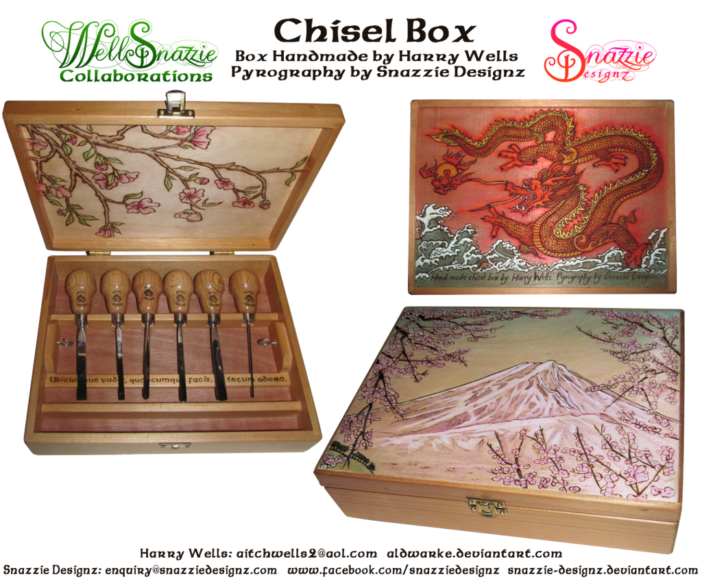 Handmade Chisel Box Decorated With Pyrography