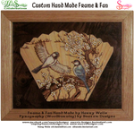 Hand made frame and fan and pyrograph