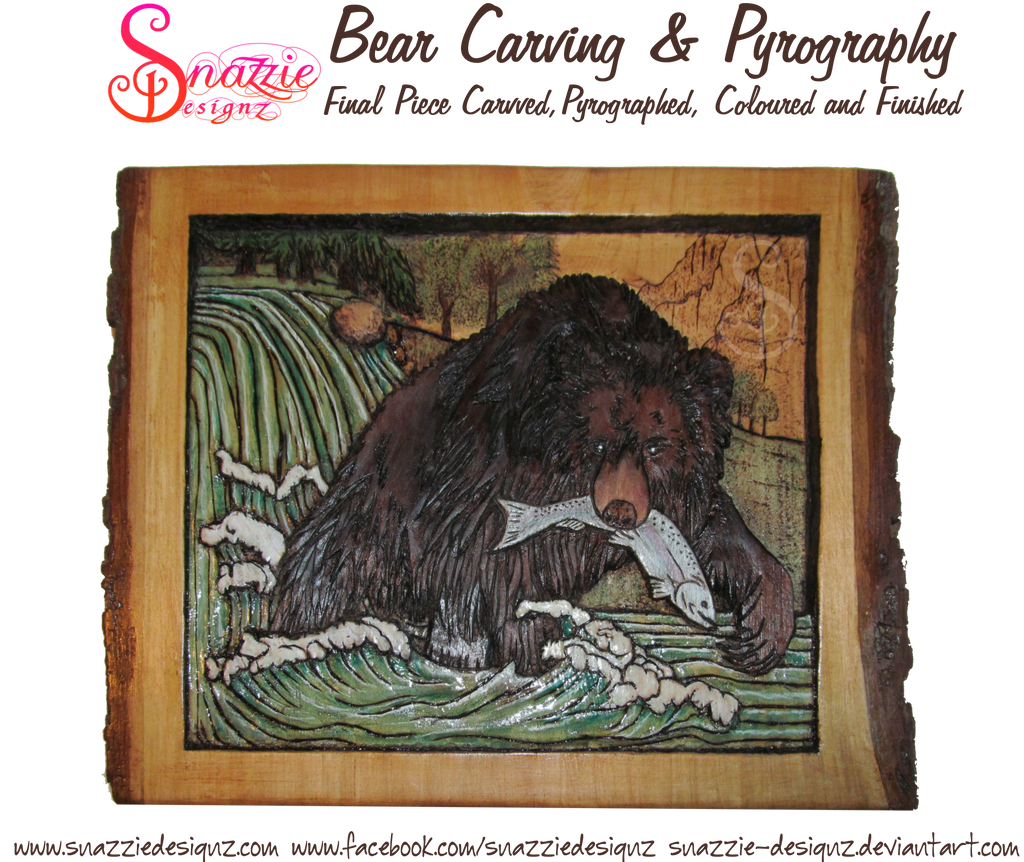 Bear Carving and Pyrography (Wood Burning) by snazzie-designz