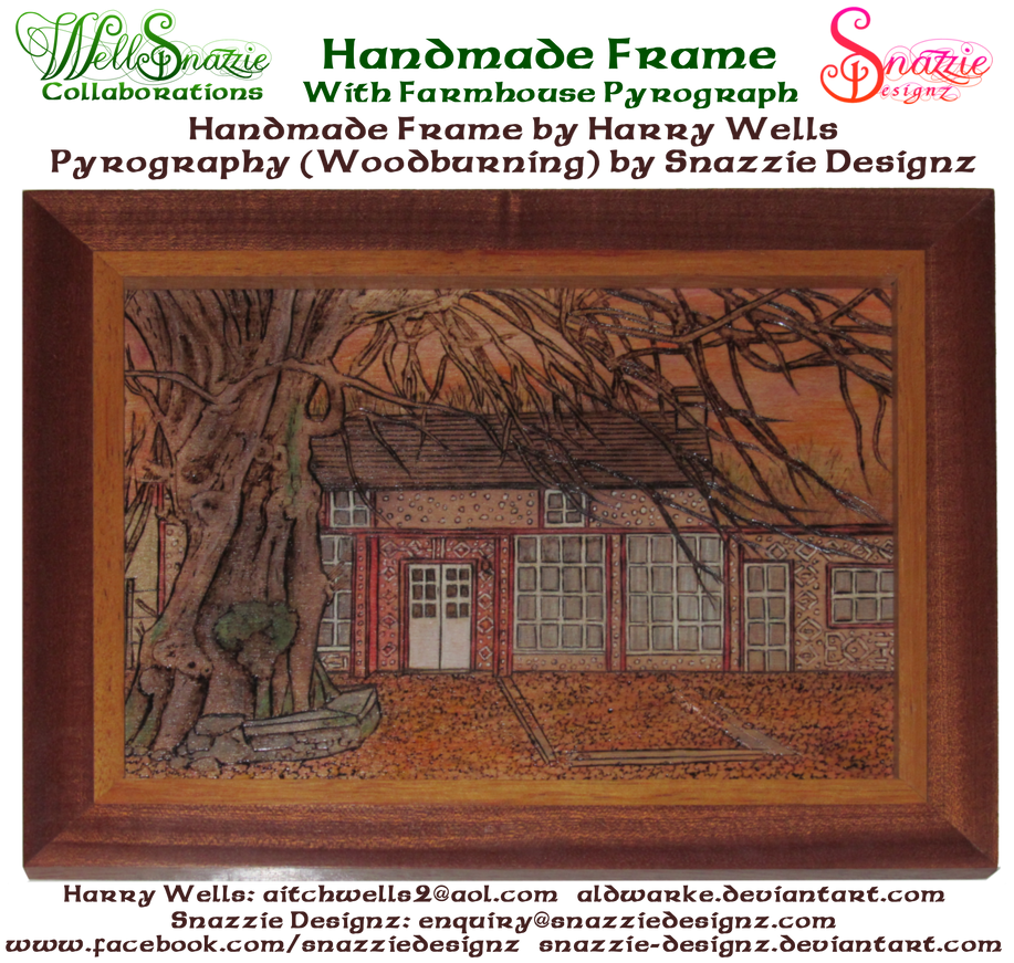 Hand Made Picture Frame With Farmhouse Pyrograph by snazzie-designz