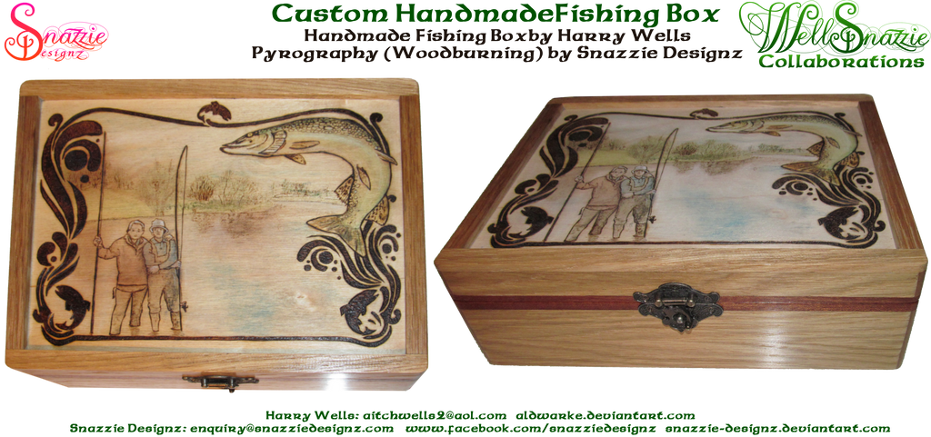 Hand Made Fishing BoxWith Pyrograph Lid by snazzie-designz