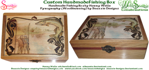 Hand Made Fishing BoxWith Pyrograph Lid