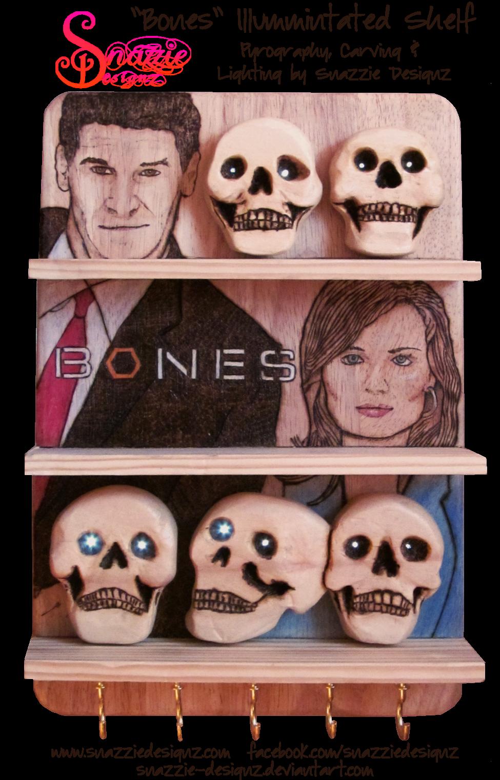 Bones Shelf Hand Carved Pyrographed Illuminated