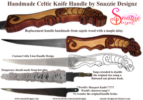 Handmade Celtic Lion Knife Handle by snazzie-designz