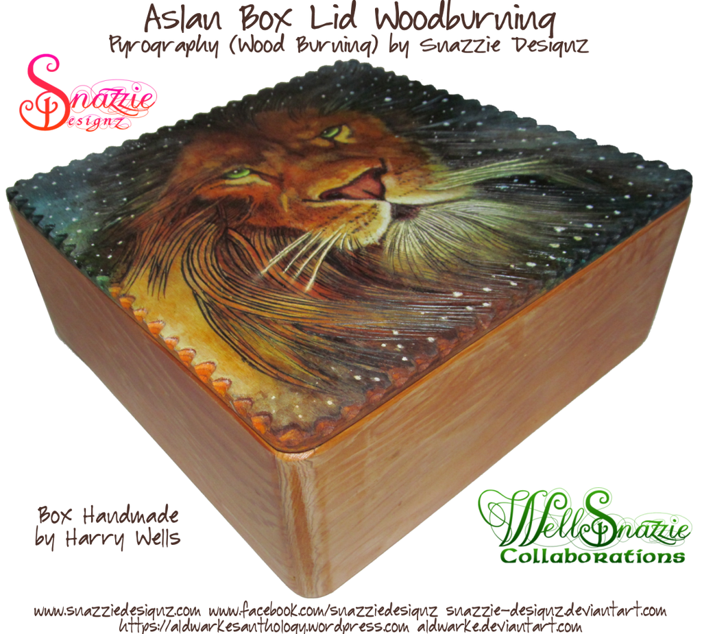Aslan Wooden Box Lid Woodburning Pyrograph 01