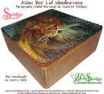 Aslan Wooden Box Lid Woodburning Pyrograph 01 by snazzie-designz