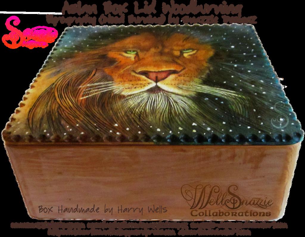 Aslan Wooden Box Lid Woodburning Pyrograph 02