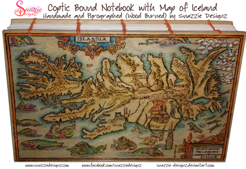 Coptic Bound Notebook - Map of Iceland Cover