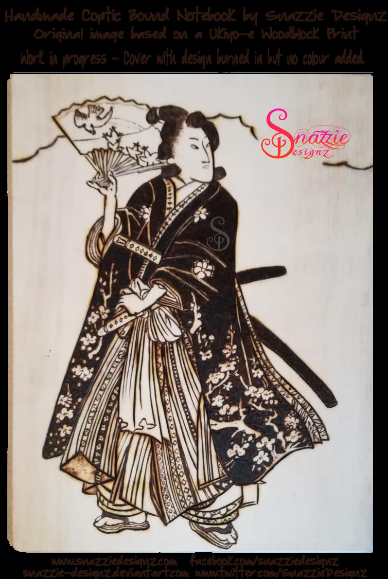 Samurai Girl Pyrograph on Coptic Journal -WIP