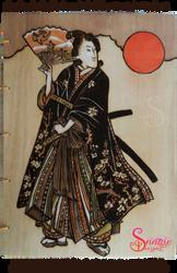 Samurai Girl Pyrograph on Coptic Journal - Front