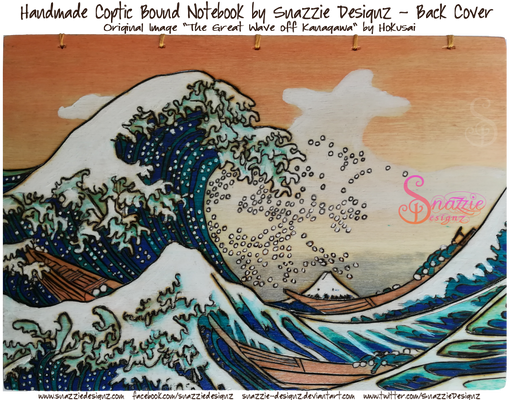 The Great Wave Pyrograph on Coptic Bound Journal