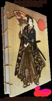 Samurai Girl Pyrograph on Coptic Journal