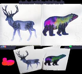 Handmade Inked Winter Cards