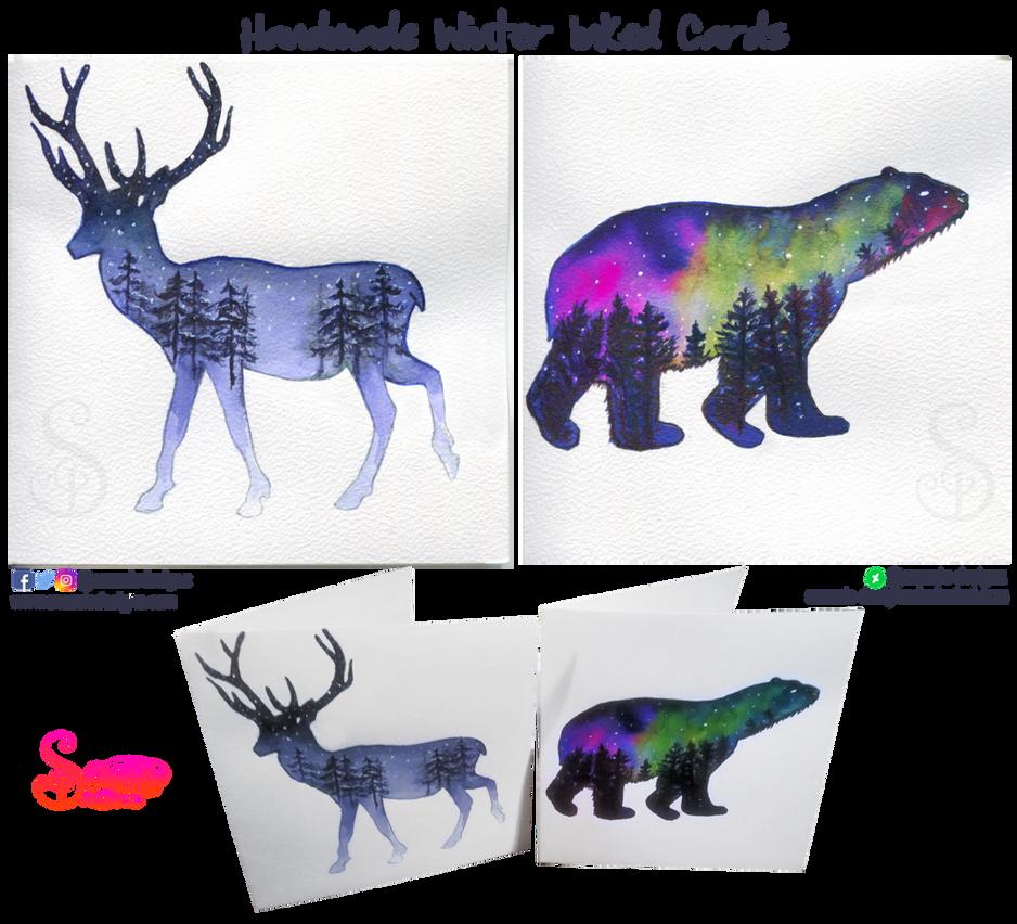 Handmade Inked Winter Cards by snazzie-designz