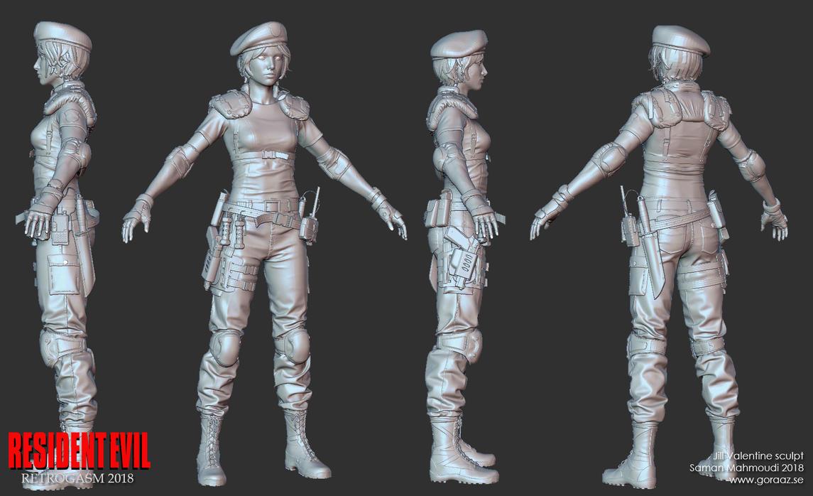 Jill Valentine Zbrush sculpt by Goraaz