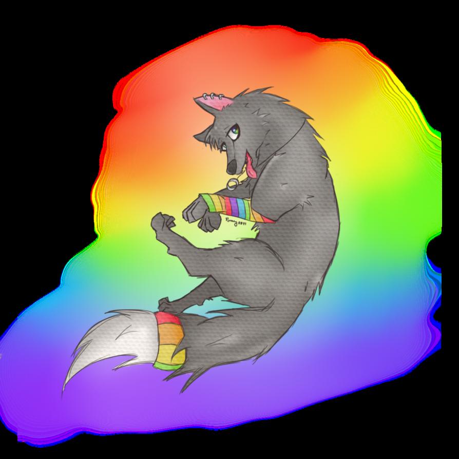 Rainbow Wolf By ChibiWolfos On DeviantArt
