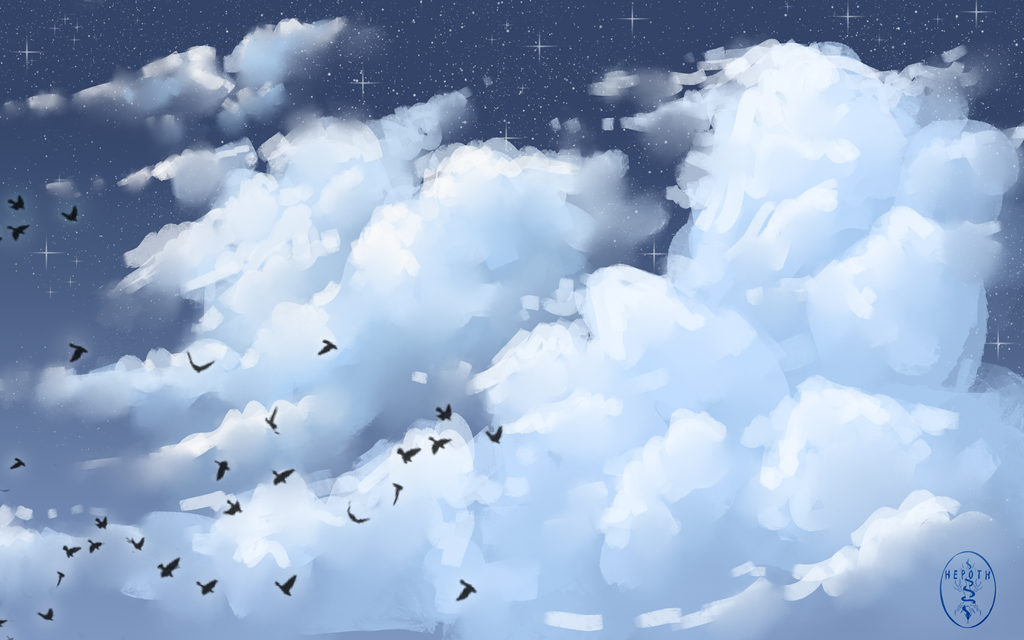 Cloudy Night Sky by Hepoth