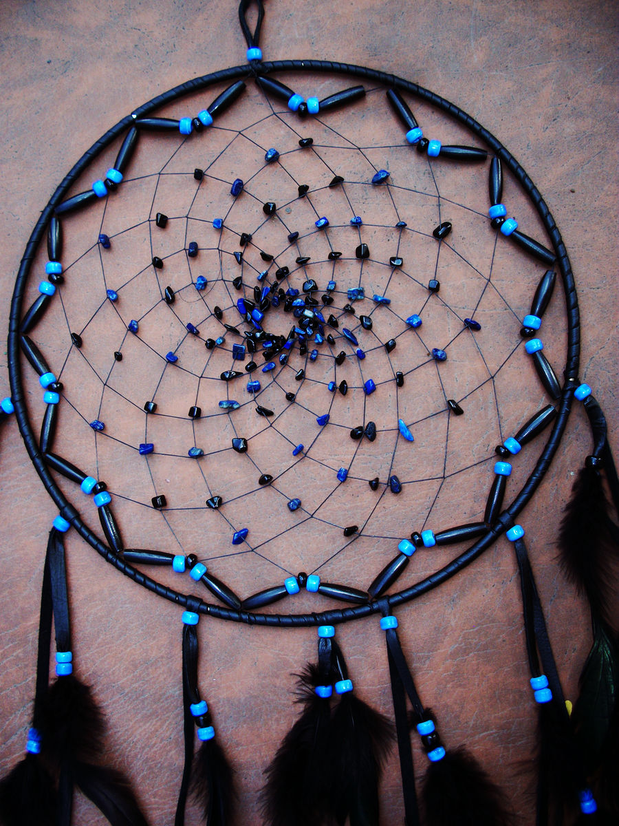 Large Black and Blue Dream Catcher