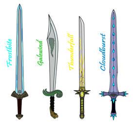 One Handed Swords set 2 (elemental swords) by ApplewoodArt