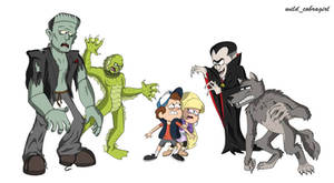 Dipper and Pacifica meets the Monsters