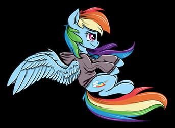 Rainbow riding her invisible motorcycle backwards by RysunkowaSucharia