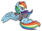 Rainbow riding her invisible motorcycle backwards