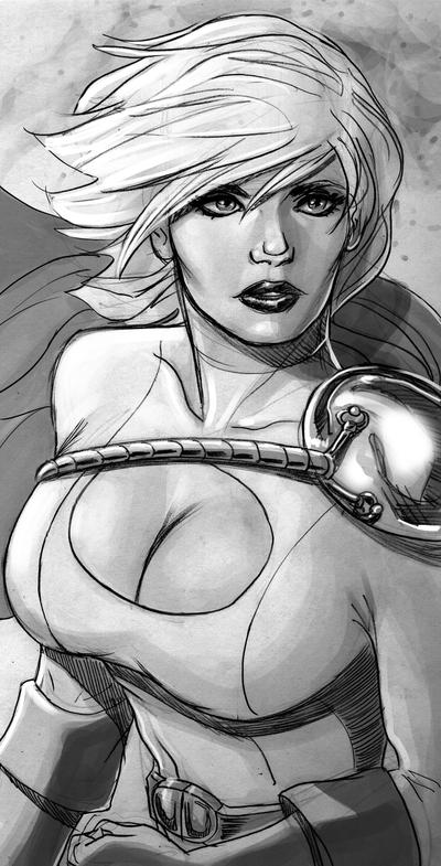 PowerGirl-Sketch by mikepacker