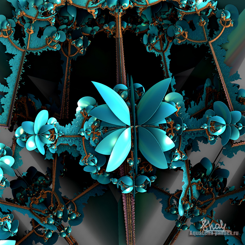 Blue fractal Flower by lady-AquaLena