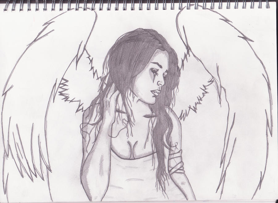 It's just an image of Dynamic Sad Angel Drawing