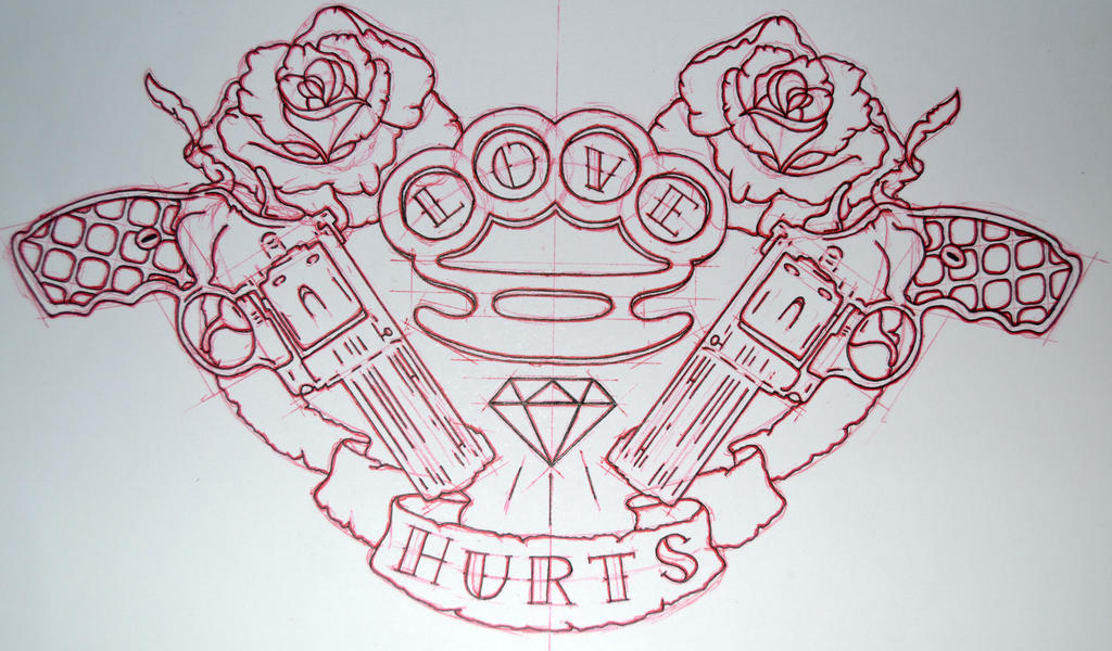 New Line Art Design : Brass knuckles and guns love hurts by avengedginge on
