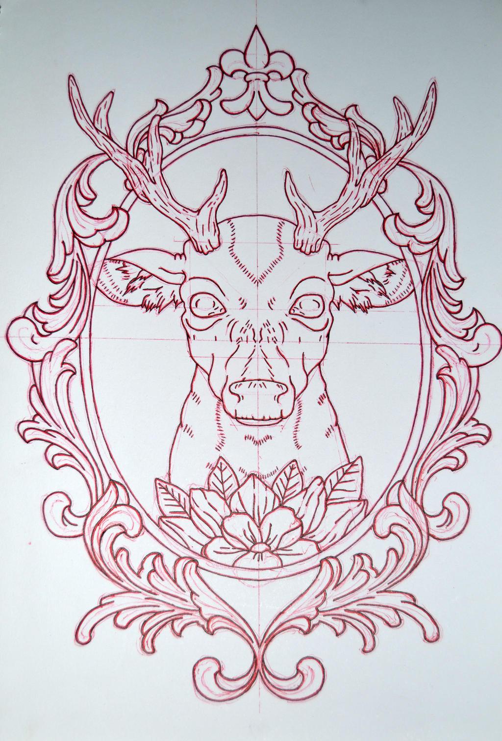 Deer and mirror frame by AvengedGinge on DeviantArt