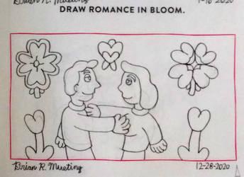 Draw romance in bloom.