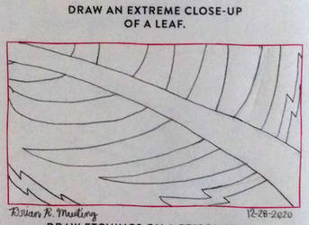 Draw an extreme close-up of a leaf.