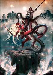Octopussy vs. Samurai Sugar by kunkka