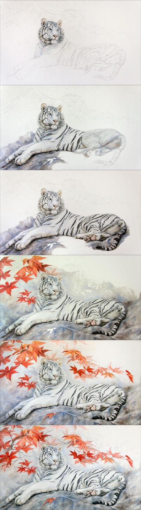 WIP White tigress by IrenaDem