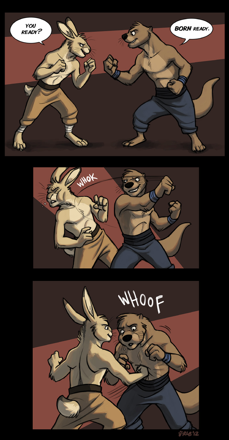 Commission: Dakkan vs. boxin' hare by Kobb