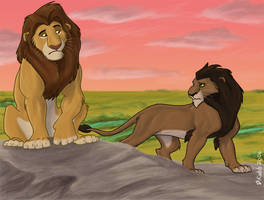 Pre-TLK Mufasa and Scar by Kobb