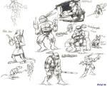 TMNT pen sketches