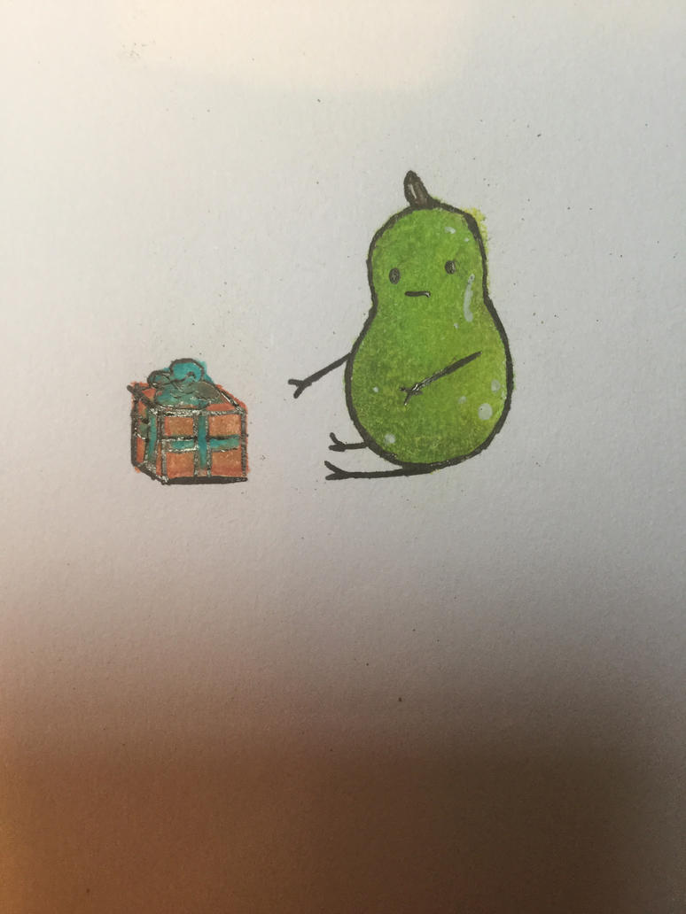 Pear boy reaches for his gift by Phosphoratic