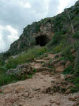 Tunnel on top of a hill Stock