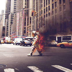 Burning astronaut by Microkey