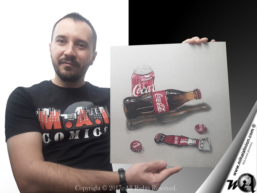 Drawing Coca Cola - Realistic 3D Art