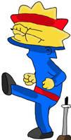 Lisa Simpson in her blue ninja outfit.