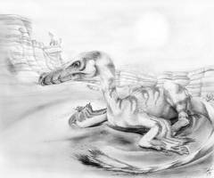 Velociraptor in a Dune Field by Qilong